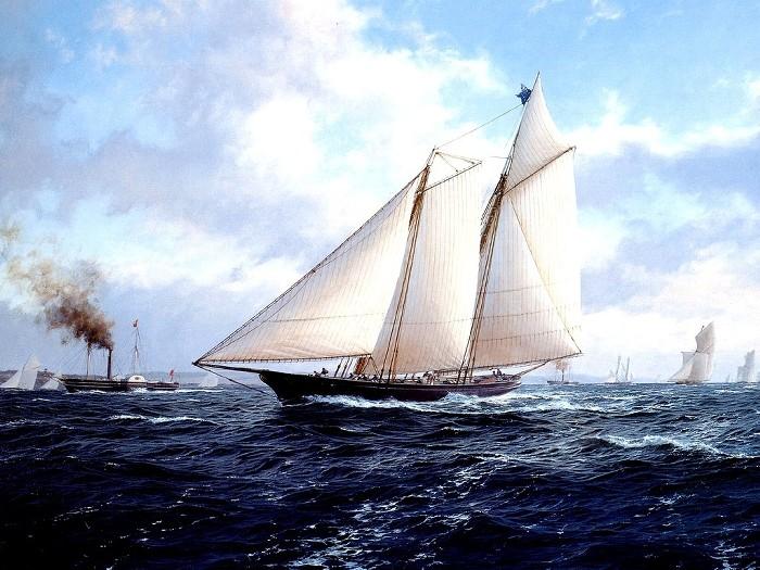絵画き帆掛け舟