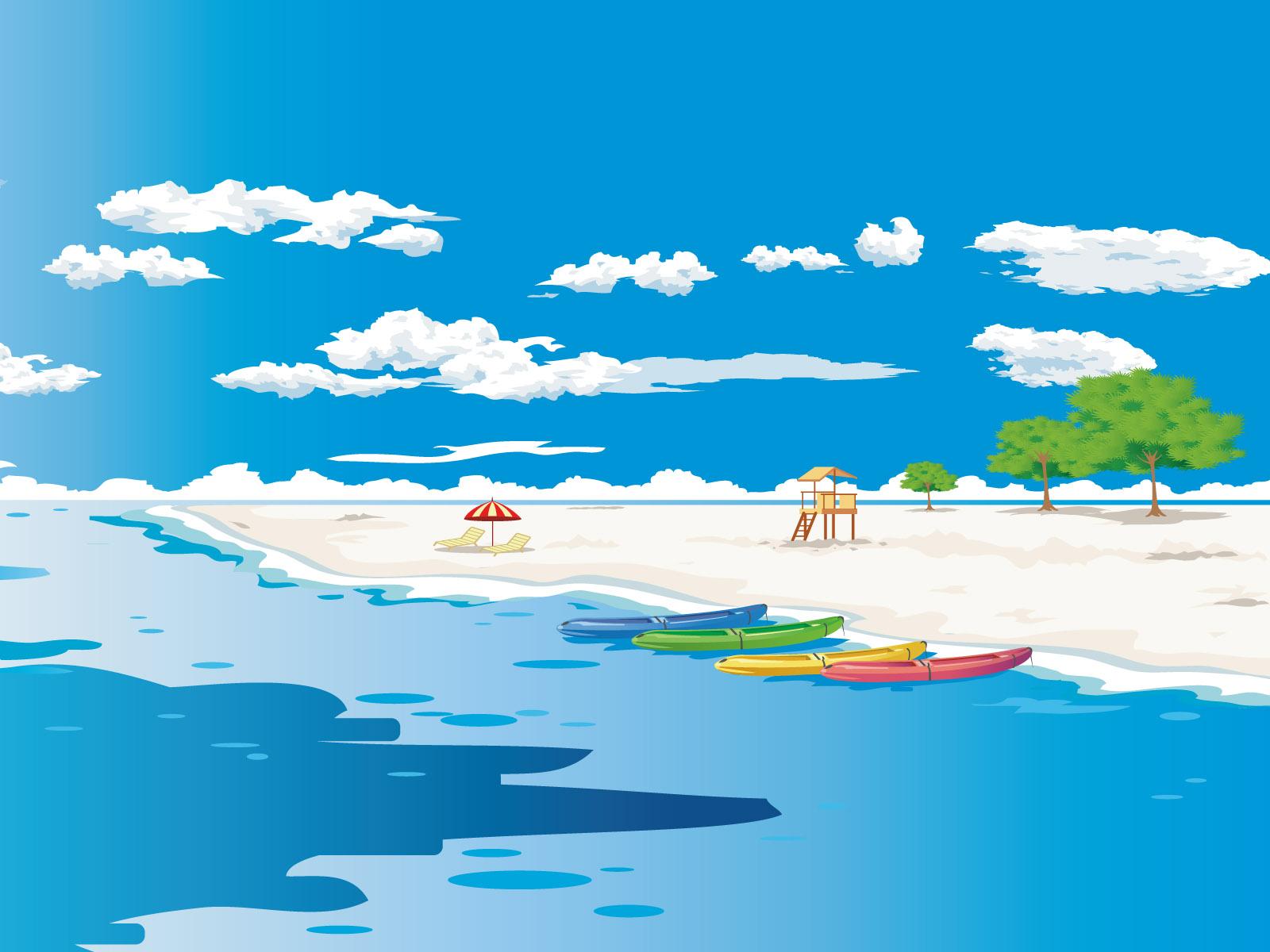 イラスト壁紙 無料ダウンロード 夏のビーチ